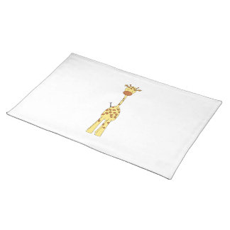 Tall Cute Giraffe. Cartoon Animal. Cloth Placemat