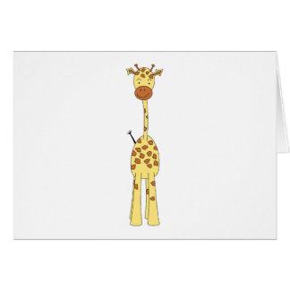 Tall Cute Giraffe. Cartoon Animal. Greeting Card