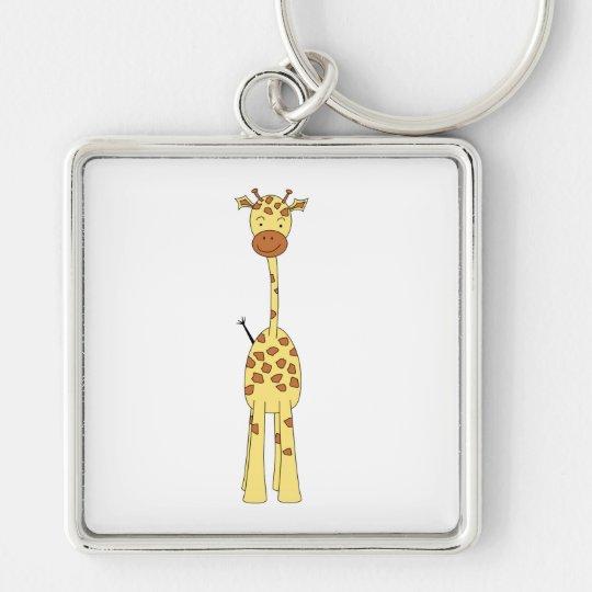 Tall Cute Giraffe. Cartoon Animal. Keychain