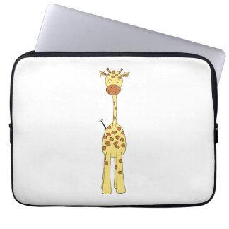Tall Cute Giraffe. Cartoon Animal. Laptop Sleeve