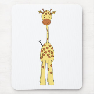 Tall Cute Giraffe. Cartoon Animal. Mouse Pad