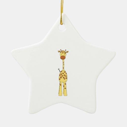 Tall Cute Giraffe. Cartoon Animal. Christmas Ornaments
