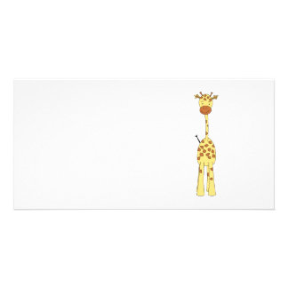 Tall Cute Giraffe. Cartoon Animal. Photo Cards