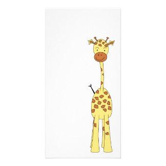 Tall Cute Giraffe. Cartoon Animal. Photo Greeting Card