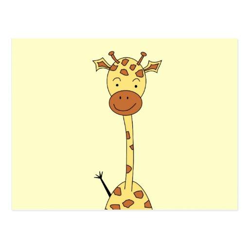 Tall Cute Giraffe. Cartoon Animal. Post Card