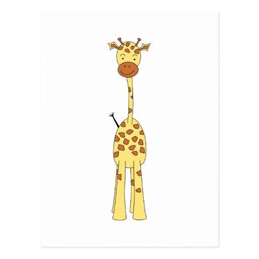 Tall Cute Giraffe. Cartoon Animal. Postcards