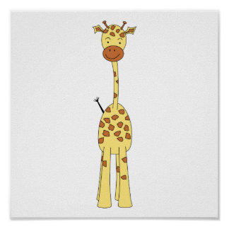 Tall Cute Giraffe. Cartoon Animal. Poster