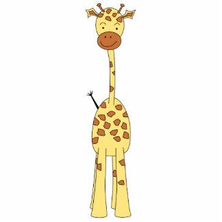 Tall Cute Giraffe. Cartoon Animal. Standing Photo Sculpture