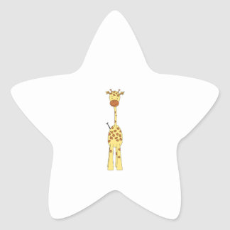 Tall Cute Giraffe. Cartoon Animal. Star Sticker