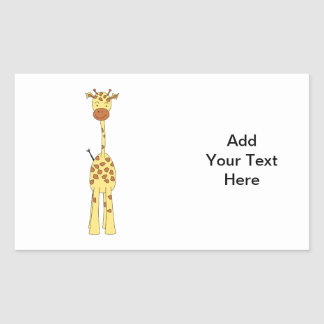 Tall Cute Giraffe. Cartoon Animal. Rectangular Sticker