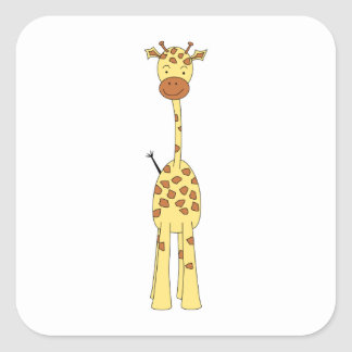Tall Cute Giraffe. Cartoon Animal. Square Sticker