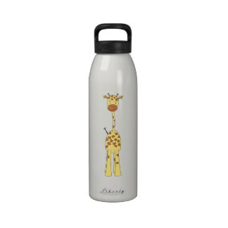 Tall Cute Giraffe. Cartoon Animal. Water Bottles