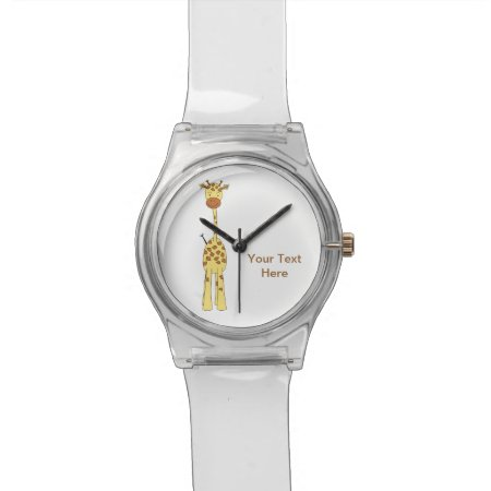 Tall Cute Giraffe. Cartoon Animal. Wrist Watch