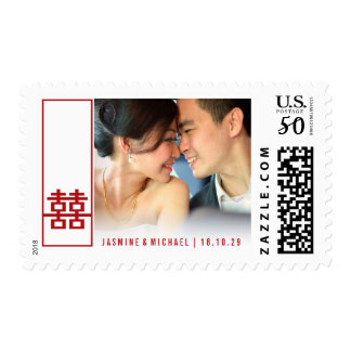 Tall Double Happiness Chinese Wedding Photo Stamps