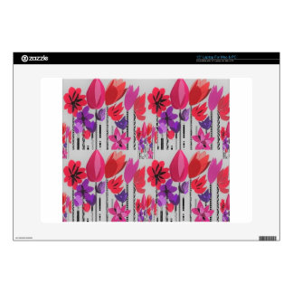 Tall Flowers in Red, Pink and Purple Laptop Skins
