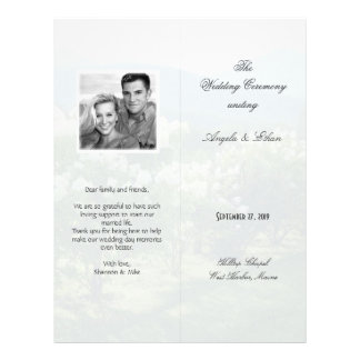 Tall, Folded Scenic Background Wedding Program