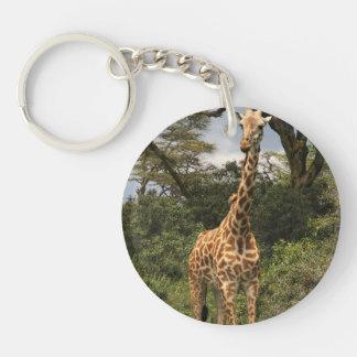 Tall Giraffe in Bushes Keychain