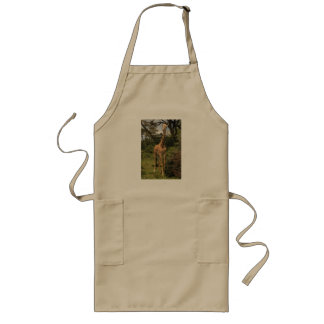 Tall Giraffe in Bushes Long Apron