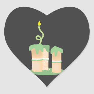 Tall green Birthday cake Heart Sticker