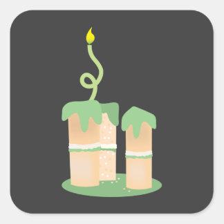 Tall green Birthday cake Square Sticker