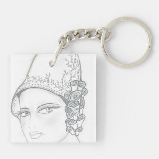 Tall Hat Flapper Square Acrylic Keychains