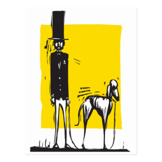 Tall Man with Dog Postcard