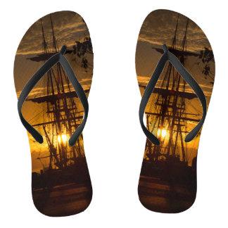 Tall-masted Sailing Ship at Sunset Flip Flops