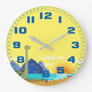 Tall Neck Dinosaur Yellow Sky Blue Numbers Large Clock