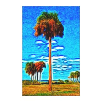 Tall Palms and Blue Sky Gallery Wrapped Canvas