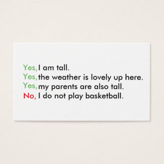 Tall person business cards