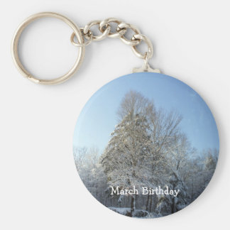 Tall Pine Tree Covered in Snow Keychain