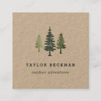 Tall Pines | Kraft Square Business Card