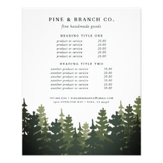 Tall Pines Pricing & Services Flyer