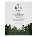 Tall Pines Wedding Bar Menu Sign