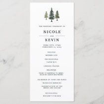 Tall Pines Wedding Ceremony Program