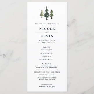 Tall Pines Wedding Ceremony Program