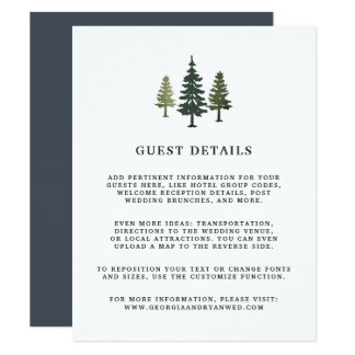 Tall Pines Wedding Guest Details Card