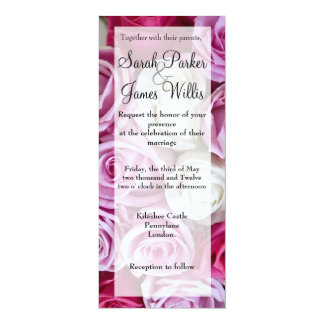 Tall  Pink and Ivory Rose invite