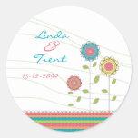 Tall Rainbow Flowers Wedding Save the Date Sticker