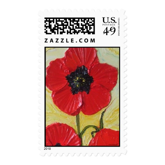 Tall Red Poppies II Postage Stamp