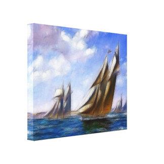 Tall Sail Ships at Sea Wrapped Canvas