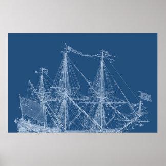 Tall Sailing Ship Blueprint Sail Boat Masts Poster