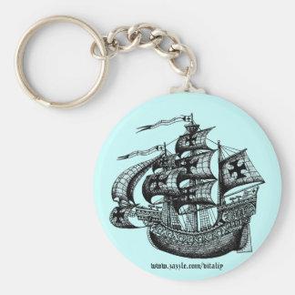 Tall sailing ship graphic art cool key chain