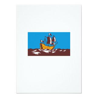 Tall Sailing Ship Retro Woodcut Personalized Invitation