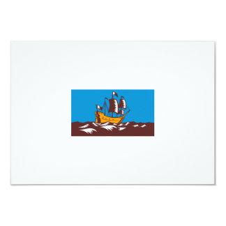 Tall Sailing Ship Retro Woodcut Announcements