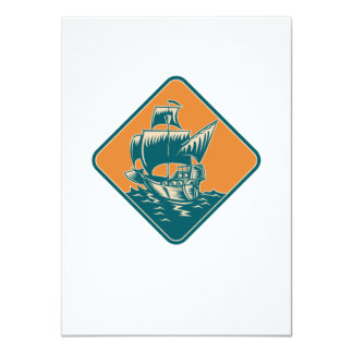 Tall Sailing Ship Retro Woodcut Invitations
