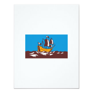 Tall Sailing Ship Retro Woodcut Personalized Invites