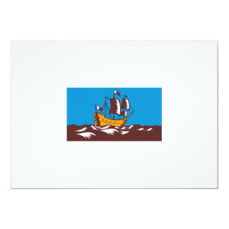 Tall Sailing Ship Retro Woodcut Custom Announcements