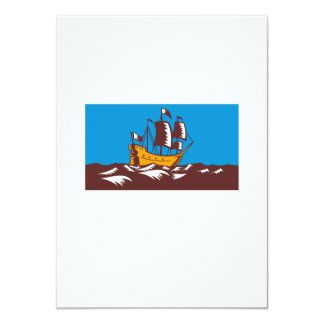 Tall Sailing Ship Retro Woodcut Custom Invitation