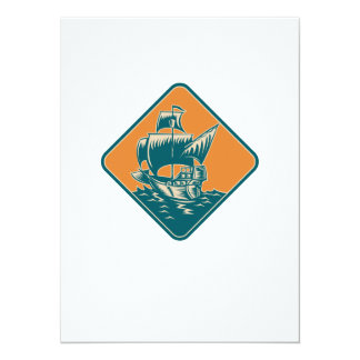 Tall Sailing Ship Retro Woodcut Personalized Announcements